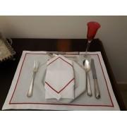 Jogo Americano + Guardanapo Festonê vermelho/branco Linho Misto Kit Com 12