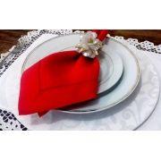 Guardanapo Cambraia de Linho Ajour à mão vermelho 47x47 Kit 12