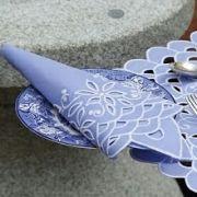 Guardanapo de Percal Richelieu Escama Azul/Branco Kit Com 10