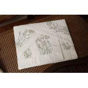 Roupa de Cama 500 fios Tulipa Adamascado branco