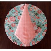 Sousplat + Guardanapo + Base Mdf Floral Azul/Rosa Kit Com 12