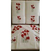 Roupa de Cama e Jogo de Toalha Suite  Tulipa Branco/ Vermelho