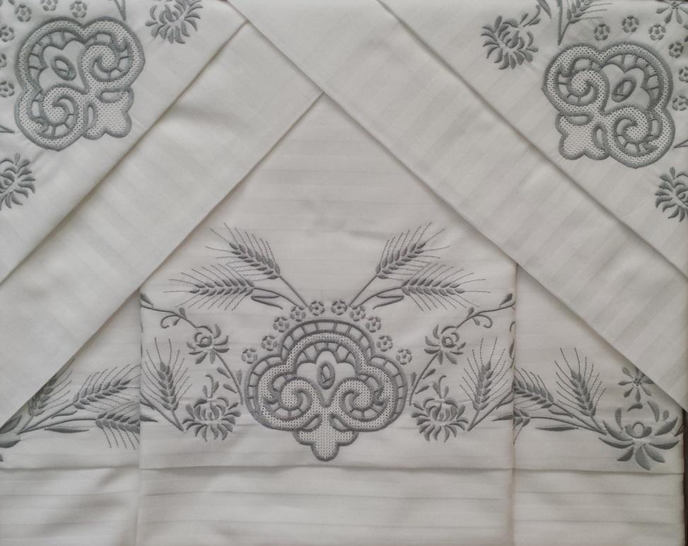 Roupa de Cama 500 fios Trigo Adamascado prata  - Helô Reis Store
