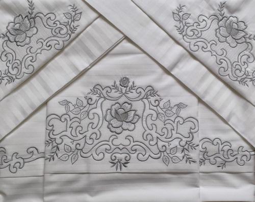 Roupa de Cama 500 fios Adamascado Bordado Crivo 2 Branco/Prata  - Helô Reis