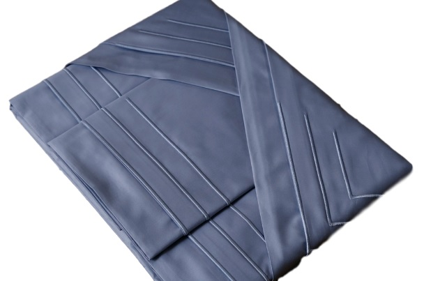 Roupa de Cama 500 fios Bordado Palito Cor Azul  - Helô Reis