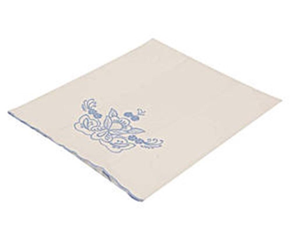 Toalha Para Lavabo Percal Bordado Português cor Branco/Azul 250 fios  - Helô Reis