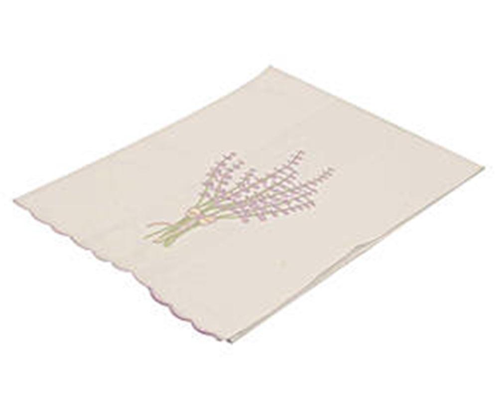 Toalha Para Lavabo Percal Bordado Lavanda Cor Branco/Lilás 250 fios  - Helô Reis