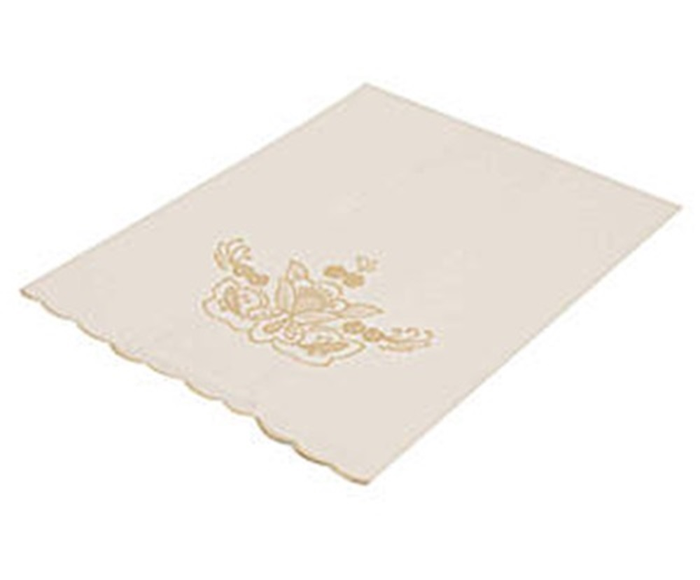 Toalha Para Lavabo Percal Bordado Português cor Branco/Perola 250 fios  - Helô Reis