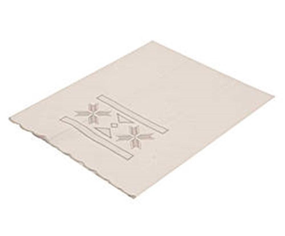 Toalha Para Lavabo Percal Bordado Grega Cor Branco/Prata 250 fios  - Helô Reis