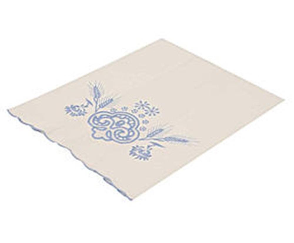 Toalha Para Lavabo Percal Bordado Trigo Cor Branco/Azul 250 fios  - Helô Reis