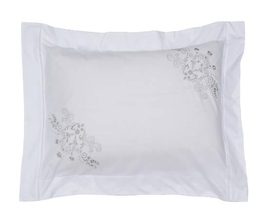 Roupa de Cama 250 fios Bud branco/cinza  - Helô Reis Store