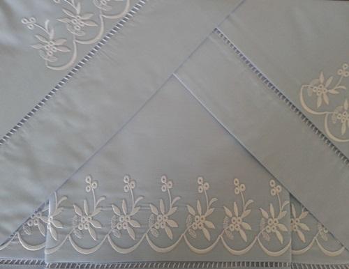Roupa de Cama 250 fios Tagima azul/ branco  - Helô Reis Store