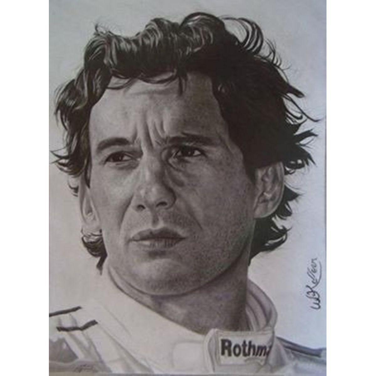 Grafite Desenho Feito a Mão - Mande sua Foto - Desenho Ayrton Senna  - Helô Reis