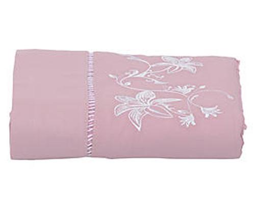 Toalha de Rosto de Bucho Bordada Bordado Lírio Cor Rose/Branco  - Helô Reis