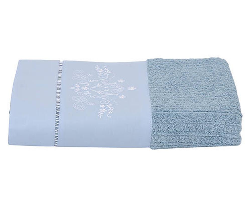 Toalha de Rosto Bordada Bordado Bud Cor Azul/Branco  - Helô Reis Store