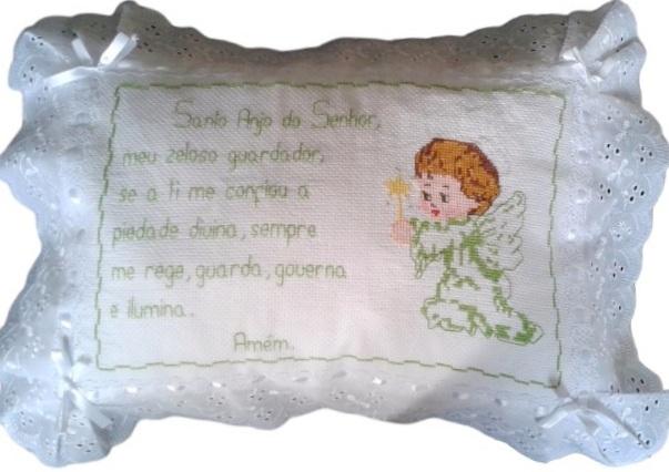 Capa de Almofada Oração Anjo da Guarda branco/verde  - Helô Reis