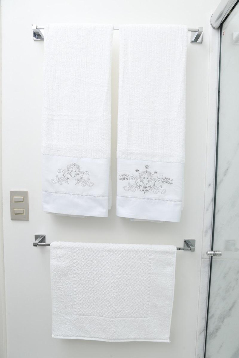 Jogo de Banho 3 peças Bud branco/cinza  - Helô Reis Store
