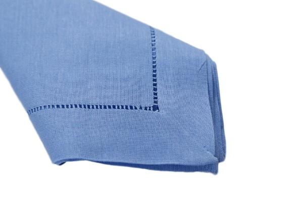 Guardanapos de Linho Misto Bainha Ponto Ajour Feito a Mão Cor Azul 45x45  - Helô Reis Store
