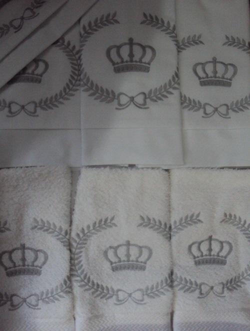 Suíte de Berço Luxo 07 Peças - Só Coroa Branco/Prata  - Helô Reis Store