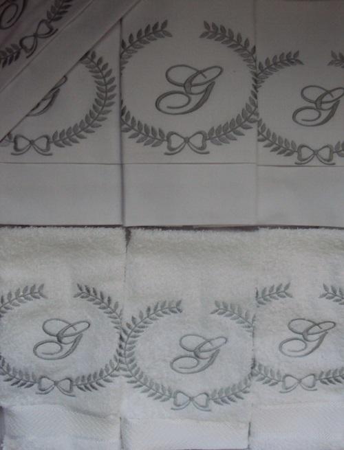 Jogo de Berço Luxo 07 Peças - Só Inicial  Branco/Prata  - Helô Reis Store