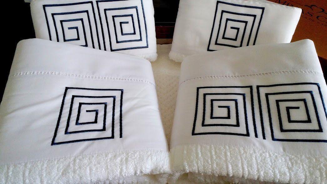 Jogo de Banho 5 peças Palito Labirinto branco/ azul marinho  - Helô Reis Store