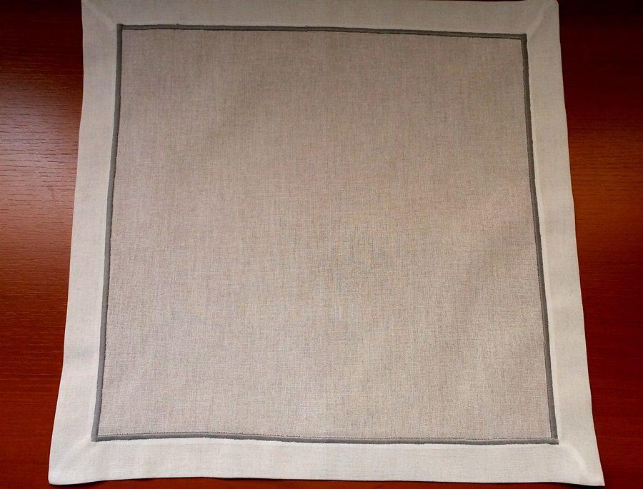 Guardanapo de Linho Festonê Branco com Cinza Kit 12  - Helô Reis Store