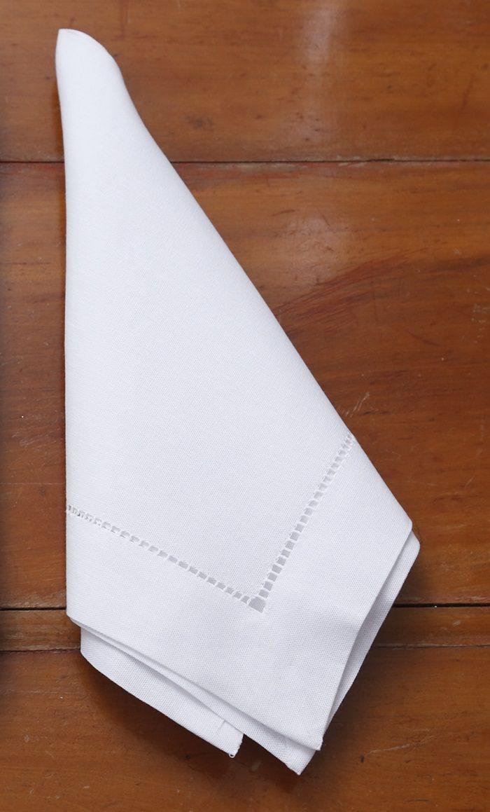 Guardanapo de Linho Ajour à mão branco 45x45 Unidade  - Helô Reis Store
