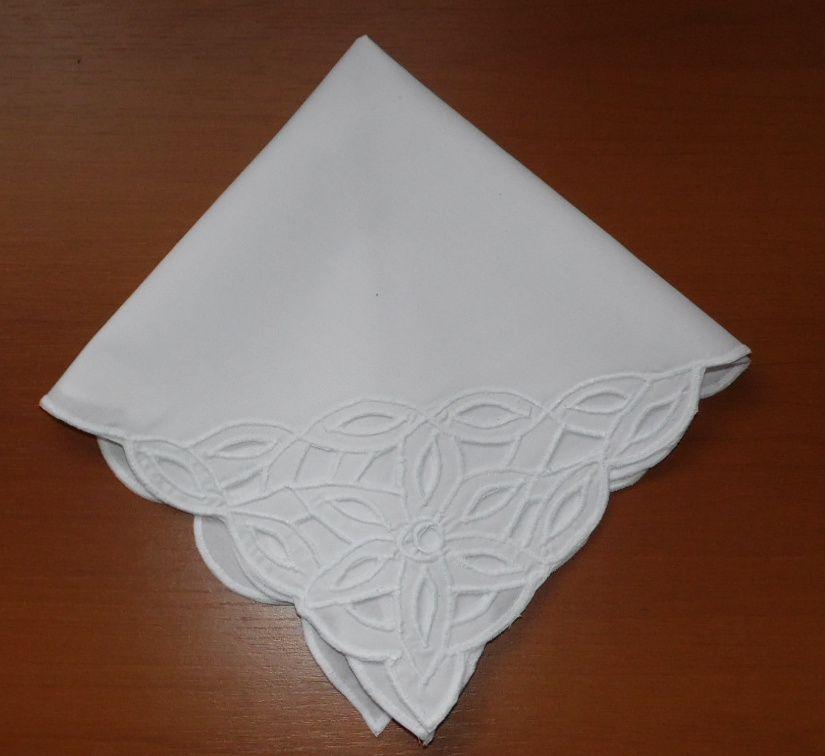Guardanapo de Percal Richelieu Fita Branco Kit Com 12  - Helô Reis Store