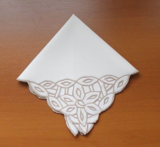 Guardanapo de Percal Richelieu Fita Branco/Pérola Kit com 12  - Helô Reis Store