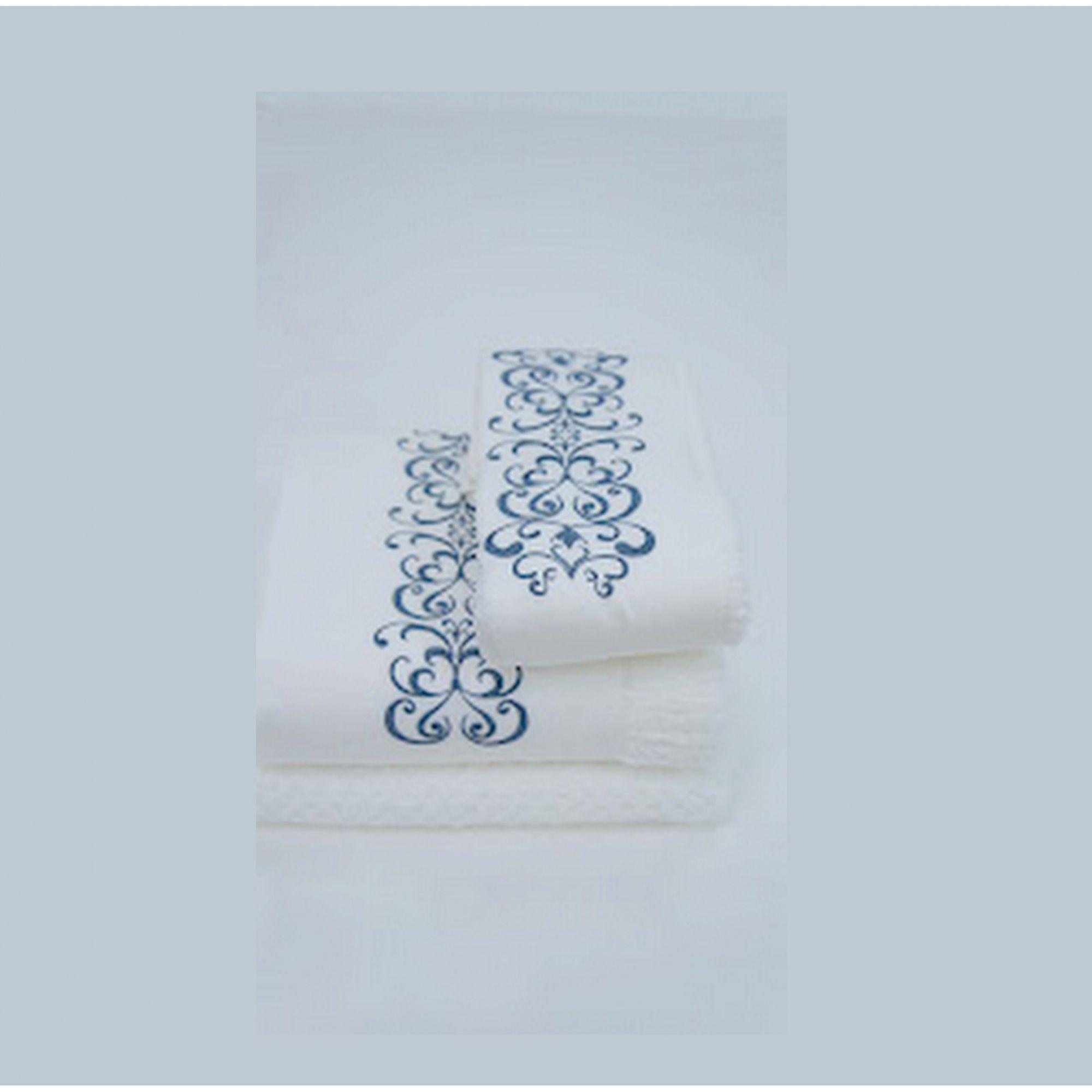 Jogo de Banho 3 peças Antares branco/azul marinho  - Helô Reis Store