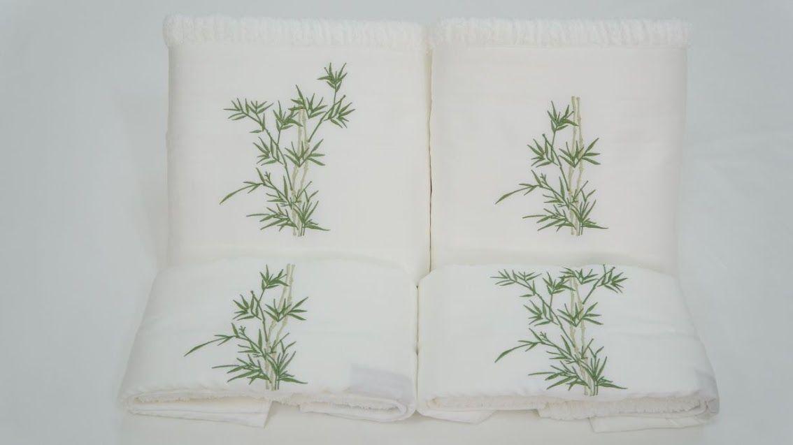 Jogo de Banho 3 peças Bambu branco/verde  - Helô Reis Store
