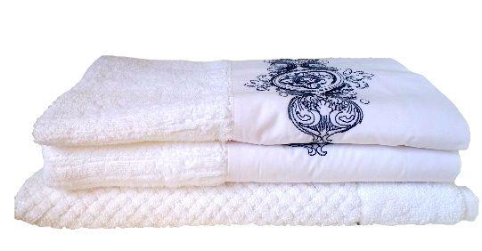 Jogo de Banho 3 peças  Camões branco/ azul  - Helô Reis Store