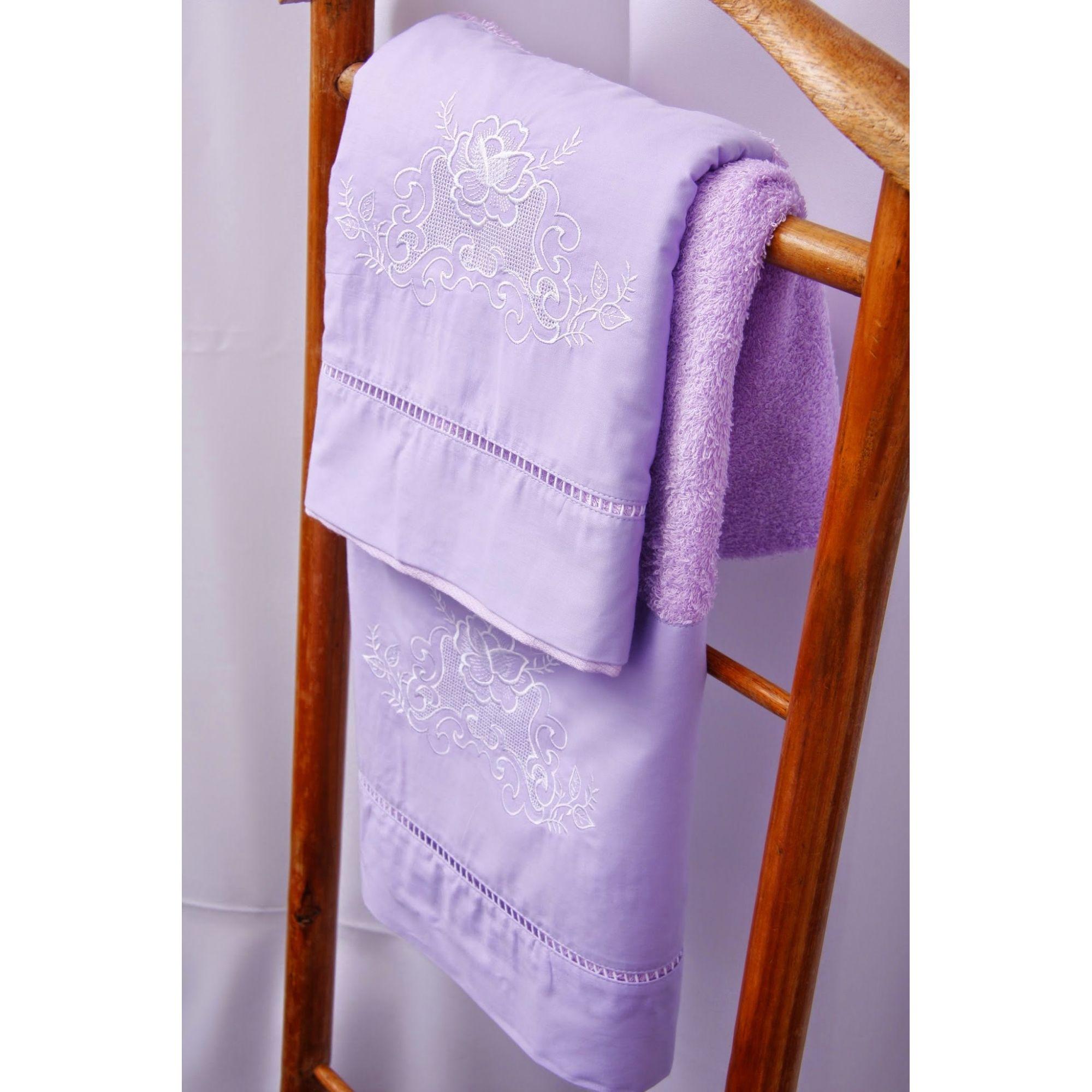 Jogo de Banho 3 peças Crivo II lilás/branco  - Helô Reis Store