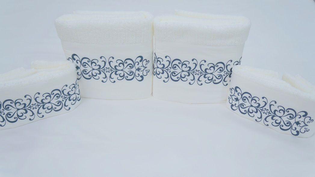Jogo de Banho 5 peças Antares branco/azul marinho  - Helô Reis Store