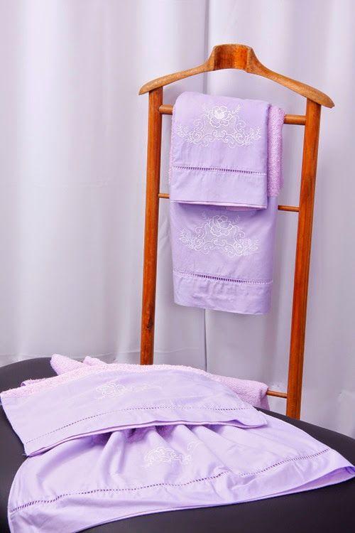 Jogo de Banho 5 peças Palito Crivo II lilás/ branco  - Helô Reis Store