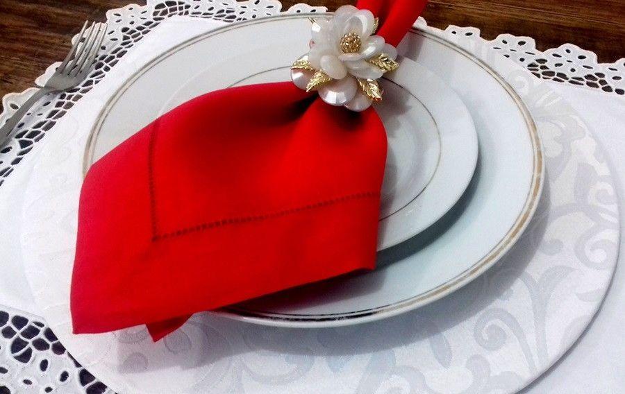 Guardanapo Cambraia de Linho Ajour à mão vermelho 47x47 Kit 12   - Helô Reis Store