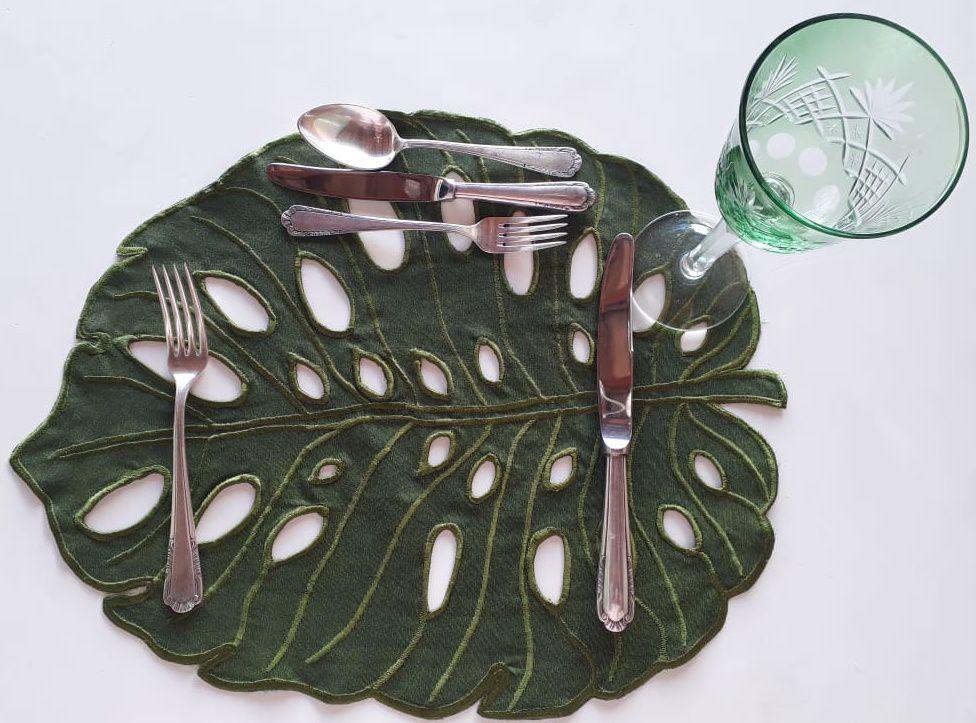 Jogo Americano Folha Costela de Adão Verde Impermeável Kit Com 12  - Helô Reis Store