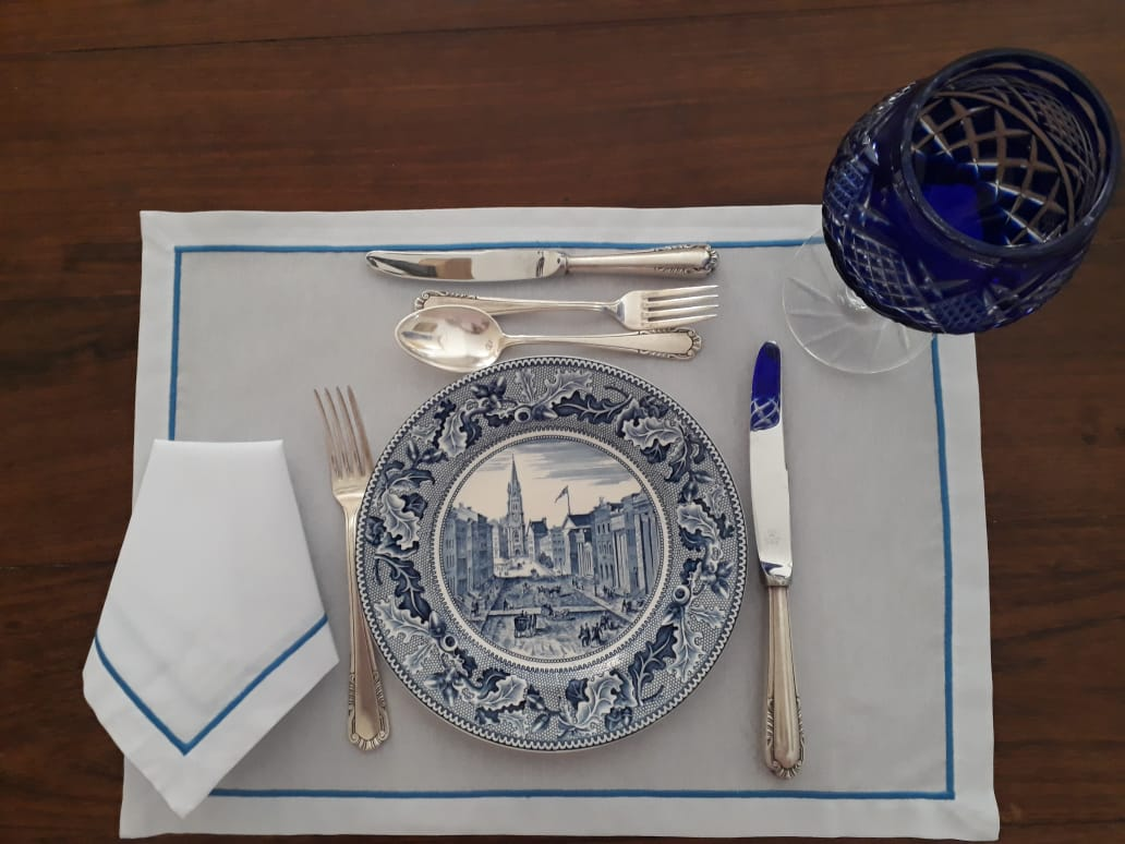 Jogo Americano+Guardanapo Festonê Branco/azul Kit 12  - Helô Reis Store