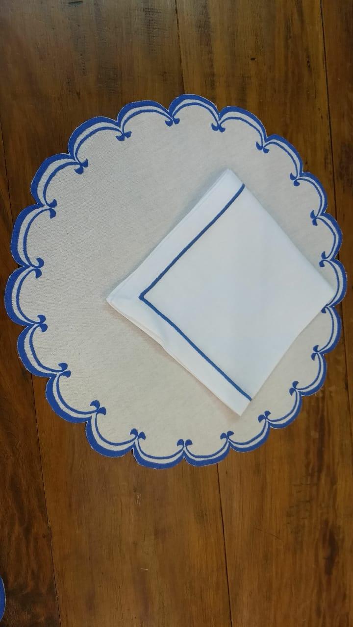 Sousplat Linho Elo azul bic Kit Com 12  - Helô Reis Store