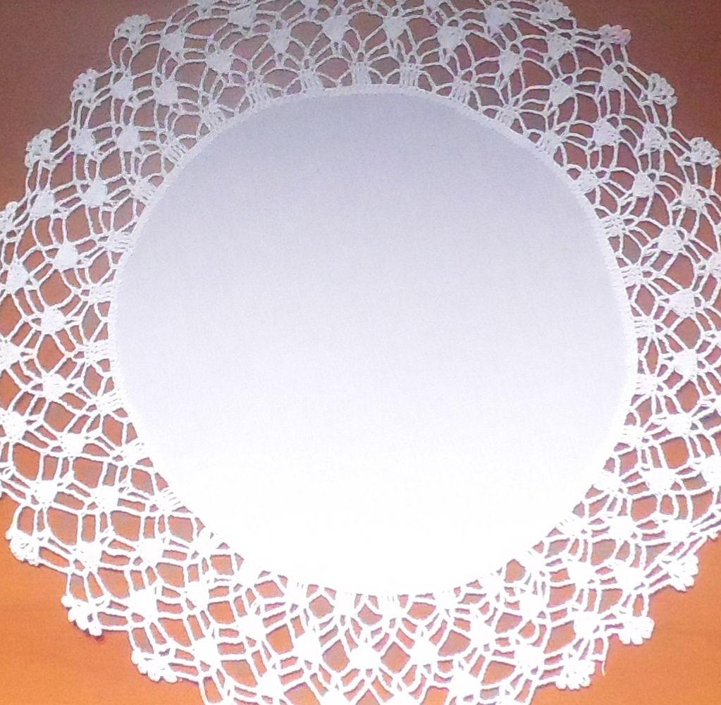 Sousplat Linho Com Crochet Yoongi Branco Kit Com 8  - Helô Reis Store
