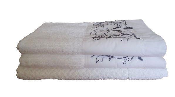 Jogo de Banho 3 peças Ságua branco/ cinza escuro  - Helô Reis Store