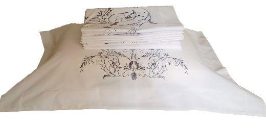 Roupa de Cama 250 fios Sagua branco/ azul  - Helô Reis Store