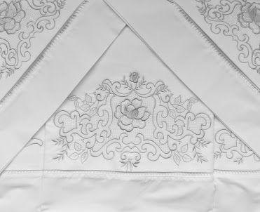 Roupa de Cama 250 fios Crivo II branco/ prata  - Helô Reis Store