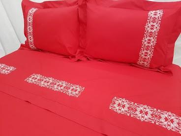 Roupa de Cama 250 fios Rande vermelho  - Helô Reis Store
