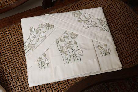 Roupa de Cama 500 fios Tulipa Adamascado branco  - Helô Reis Store