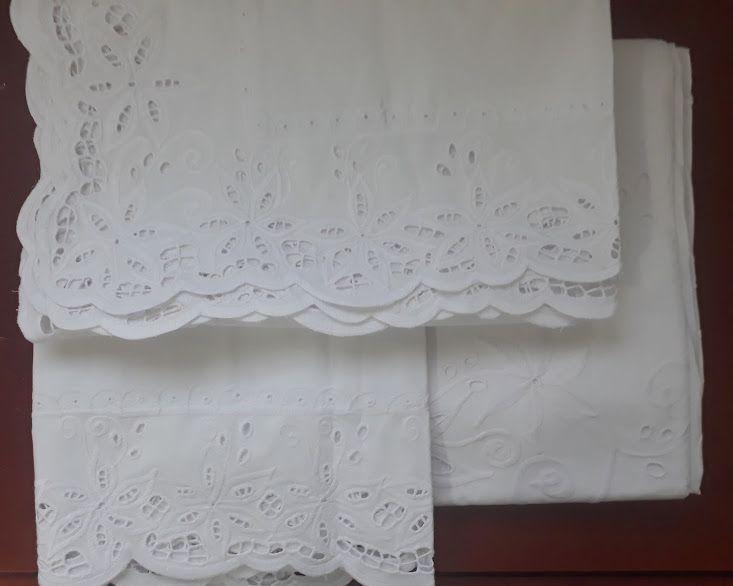 Roupa de Cama Percal Richelieu Detalhes  - Helô Reis Store