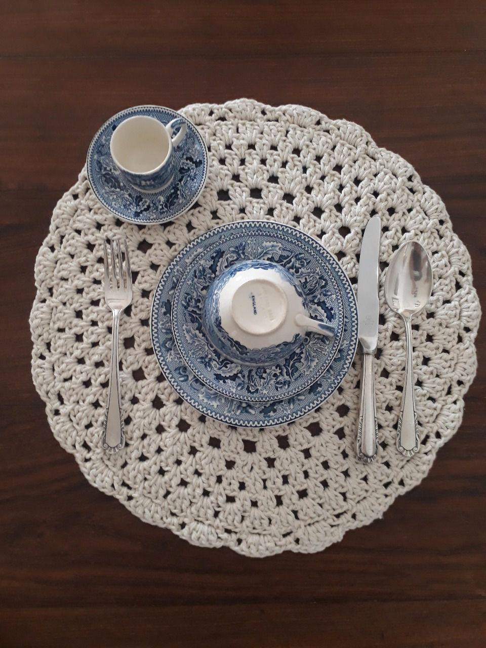 Sousplat de Crochet Branco Kit com 8  - Helô Reis Store