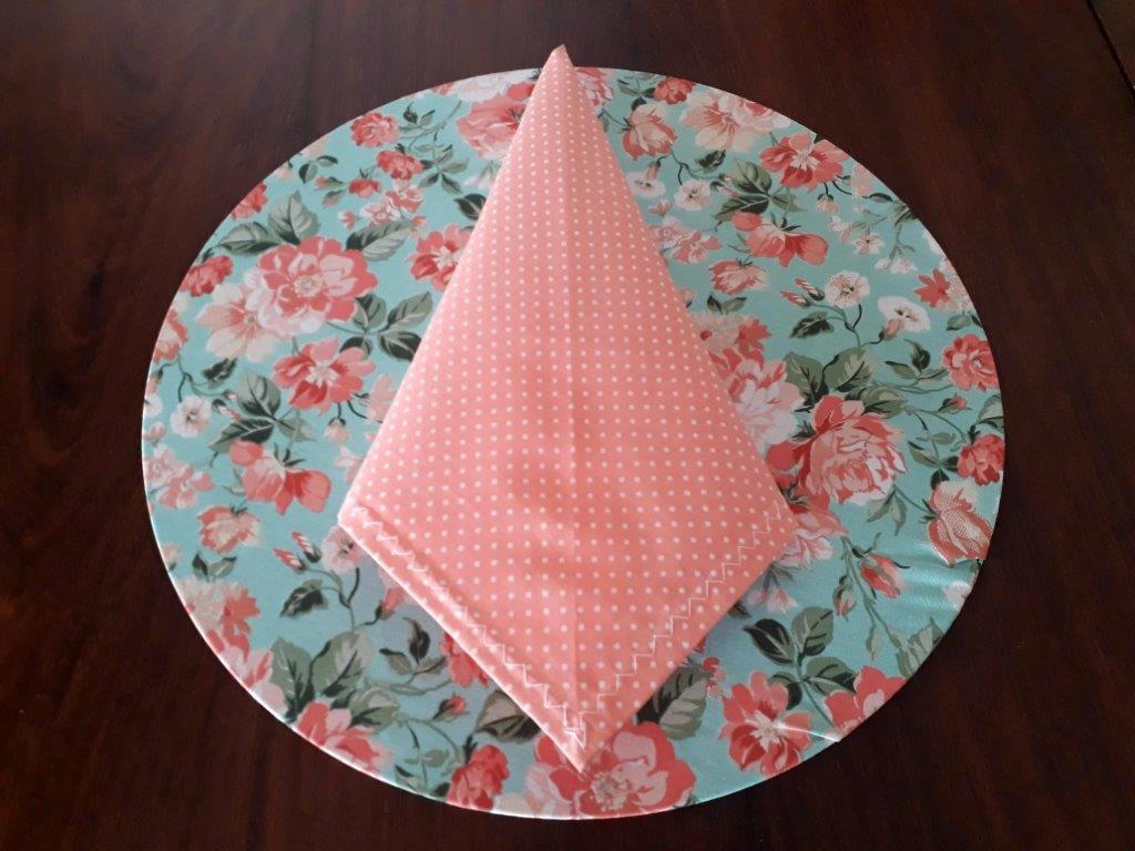 Sousplat + Guardanapo + Base Mdf Floral Azul/Rosa Kit Com 12  - Helô Reis Store