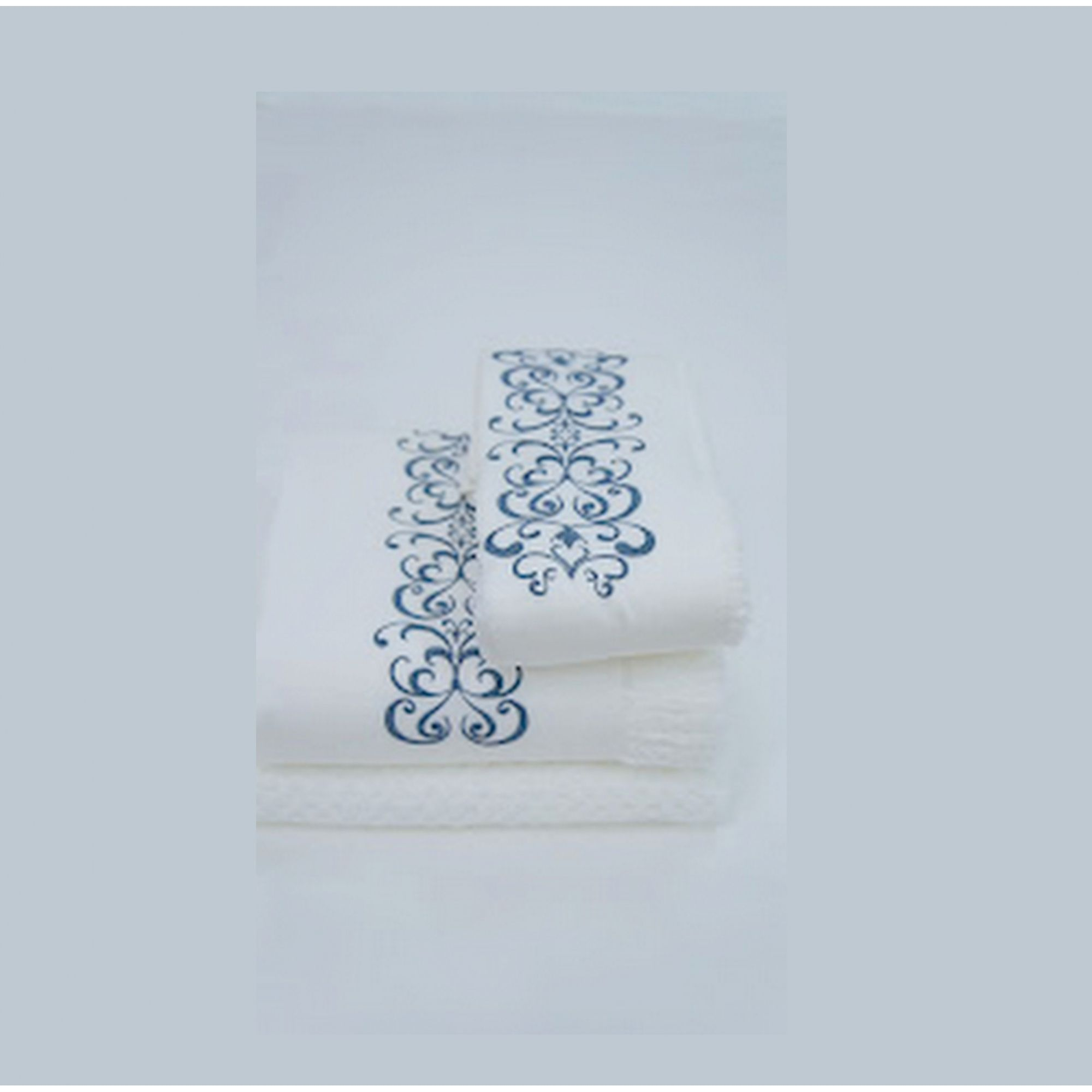Suíte 250 fios Antares branco/azul marinho  - Helô Reis Store