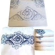 Roupa deCama e Toalha de Banho Suíte 250 fios Camões branco/ azul  - Helô Reis Store